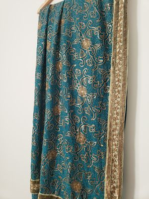 Teal Green Saree Sari Indian Pakistani Clothing Fancy Partywear Formal Bridal for Sale in Bristol, CT