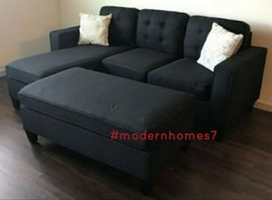 Black sectional sofa with ottoman convertible sleeper couch for Sale in Anaheim, CA