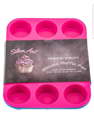 2-Pack Silicone Cupcake Baking Cups in Blue and Pink | 12-Cup Non Stick Silicone Muffin Pans for Sale in Arlington, TX