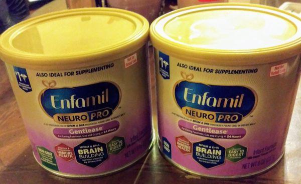 Lot of 2 Enfamil neuropro gentlease 8oz cans