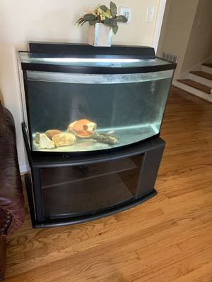 Fish tank 40 gallons with base for Sale in Cary, NC