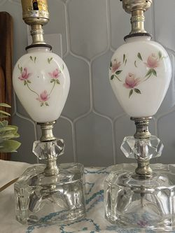 A Pair Of Vintage Milk Glass Lamps for Sale in San Jose,  CA