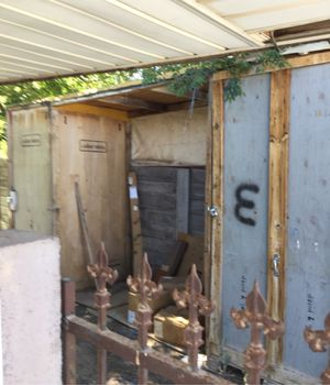 Storage shed made out of big theater boxes. 42 x 52 x 100 tall for Sale in Las Vegas, NV