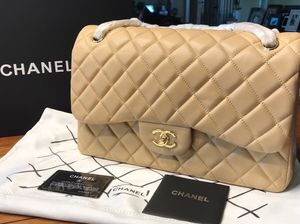 Chanel Quilted Double Flap Lambskin Leather Beige Jumbo size Bag for Sale in Kennesaw, GA