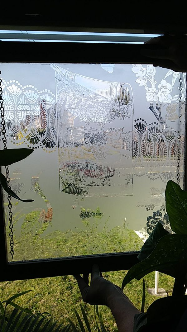 Etched Victorian glass panel