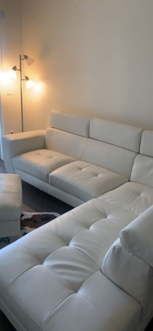 White leatherette couch and ottoman for Sale in Chandler, AZ