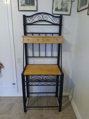 Wrought Iron and Wood Finish Bakers/Wine Rack for Sale in University Place, WA