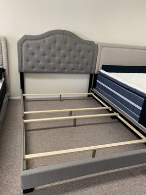 New Grey fabric bed frame queen size for Sale in Seattle, WA