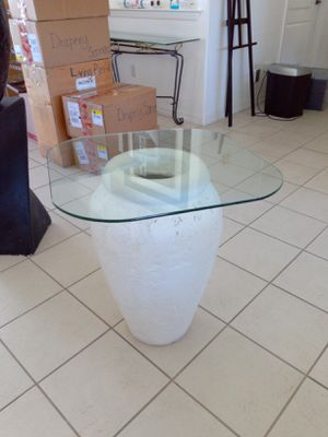 White concrete vase with glass top for Sale in San Luis Obispo, CA