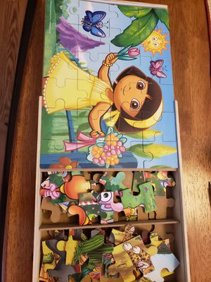 3 wooden 24 pce puzzles Dora the Explorer, Diego, and friends for Sale in Crestview, FL