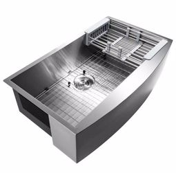 AKDY Handcrafted All-in-One Farmhouse Apron Front Stainless Steel 33 in. x 20 in. x 9 in. Single Bowl Kitchen Sink for Sale in Dallas,  TX