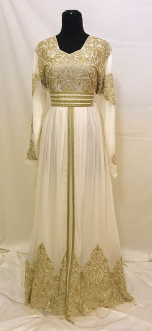 Used, White gold lace maxi dress abaya jilbab size L for Sale for sale  Anaheim, CA
