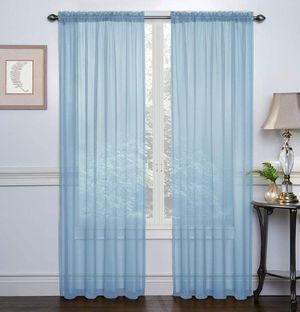 Light blu Rod Pocket Sheer Voile Window Curtain Panels for Sale in Oakland Park, FL
