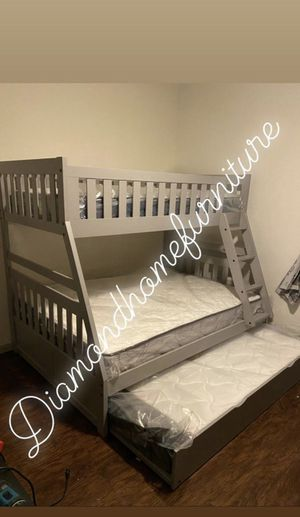 New grey bunk bed with mattress and twin trundle / 29 Down for Sale in Houston, TX