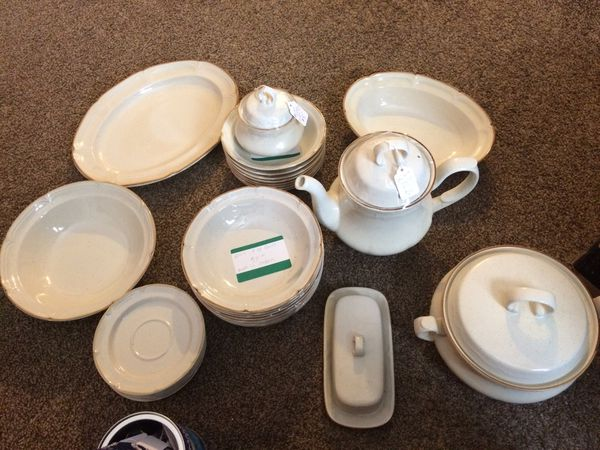 Very nice japan dishes almond flair no cracks or chips also 8 coffee cups to go with it
