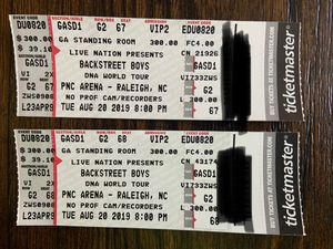 Backstreet Boys DNA Concert Tickets VIP for Sale in Raleigh, NC