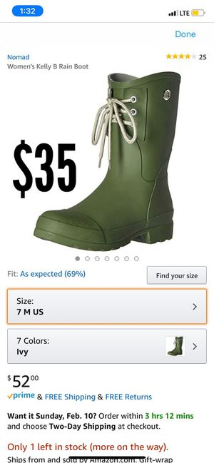 Kelly B Woman's Rain Boots Size 7 (NEW) for Sale in Bell, CA