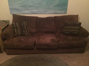 Brown couch with throw pillows for Sale in San Diego, CA