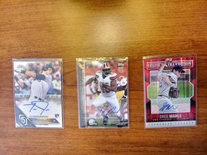 8 autographed baseball/football cards and 1 relic card for Sale in Parma, OH