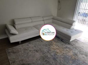 New White Bonded Leather 2pc Sofa Sectional Couch for Sale in Orange, CA