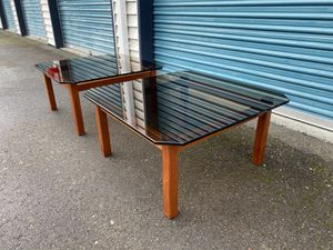 Vintage Mid Century Teak & Smoked Glass Side Tables for Sale in Kirkland, WA
