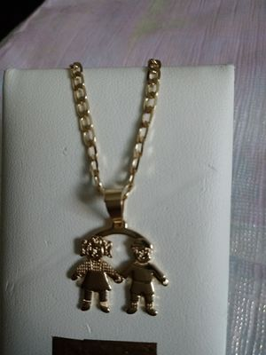 Chain for mom or girl and boy brothers in gold plated for Sale in Elk Grove Village, IL