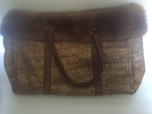 Authentic Prada gold leather crocodile and mink tote bag for Sale in Scottsdale, AZ