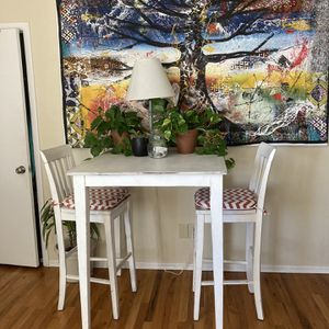 Bar Height Table & 2 Chairs w Cushions for Sale in Boulder, CO