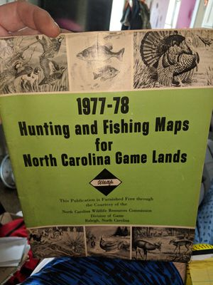 VINTAGE 1977-78 HUNTING AND FISHING MAPS FOR NC GAME LANDS for Sale in Kernersville, NC