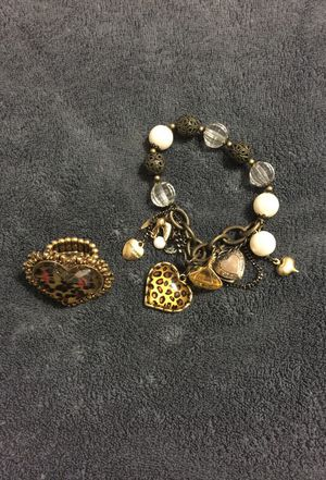 Betsy Johnson Bracelet and ring/ leopard edition for Sale in Hialeah, FL