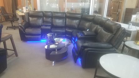 Black sectional LED sofa set $39 down for Sale in Fort Worth,  TX