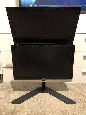 DUAL VIEWSONIC MONITORS + DESK STAND (1080p/60hz) for Sale in Tracy, CA