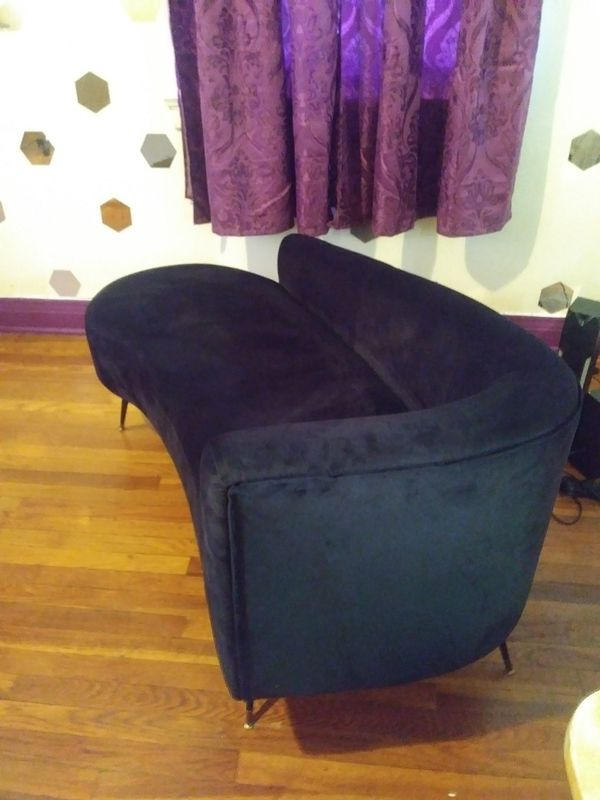 Curved Black Sofa