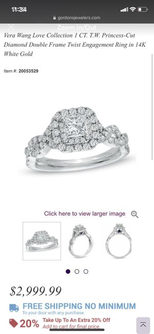 Vera wang engagement ring and band —ASKING $2000 *will ship* for Sale in Salisbury, NC