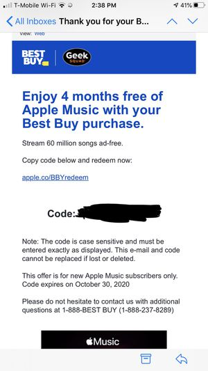 Apple Music 4 months for Sale in Maryland City, MD