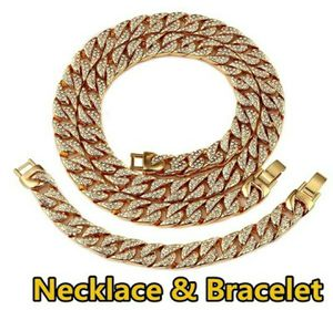 Simulated Clear CZ Miami Cuban Link Chain Necklace & Bracelet for Sale in Wichita, KS