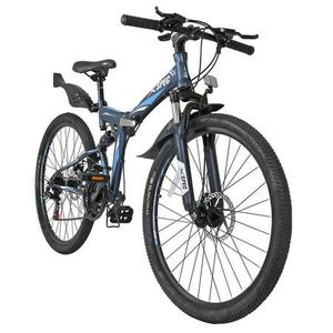 Xspec 26'' Gunmetal Blue 21 Speed Folding Mountain Bike for Sale in Rowland Heights, CA
