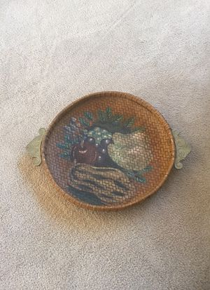 Hand painted woven basket/tray with Brass handles. 13 inch diameter plus handles for Sale in Herndon, VA