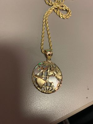 Solid 10k gold/white gold world pendant for Sale in Orlando, FL