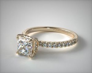 14K Yellow, Gold Petite Pave Crown Diamond Engagement Ring for Sale in Spring, TX
