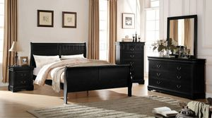 Black queen 4pc sleigh bedroom set .twin , full, king / Silver / white or grey available for Sale in Buena Park, CA