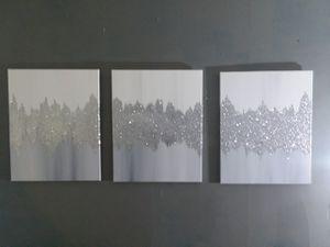 3 piece silver gray and white set home decor for Sale in Smyrna, GA