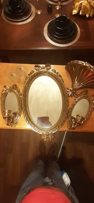 Home interior .Two glass candles for 2 mirror candle holders. Middle mirror, 1 shelf holder. In excellent condition. for Sale in Hampton, VA