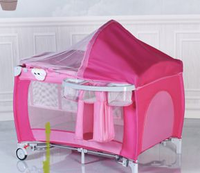 Costway Foldable Baby Crib Playpen Travel Infant Bassinet Bed Mosquito Net Music w Bag for Sale in City Of Industry, CA