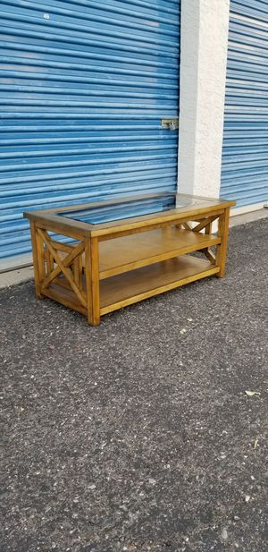 """Glass top coffee table. Measures approx: 47.5"""" long x 24"""" wide x 21"""" tall. for Sale in Phoenix, AZ"""