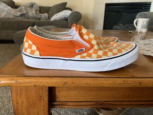 Orange checkerboard slip on vans for Sale in Flat Rock, MI
