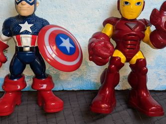 Marvel Action Figures Lot Avengers Ironman Captain America Lights And Sounds Work Heroes Squad Hasbro for Sale in Tigard,  OR