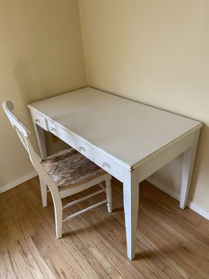 Rustic white desk + chair for Sale in San Francisco, CA
