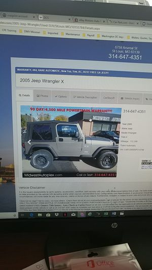 2005 Jeep Wrangler 4x4 AC 4.0 Rare Automatic for Sale in St. Louis, MO