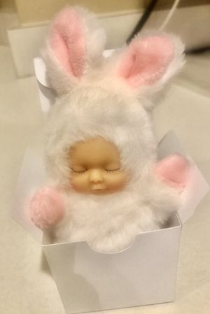 SMALL EASTER BUNNY COTTON TAIL WHITE PINK SOFT BABY DOLL for Sale in Macomb, MI